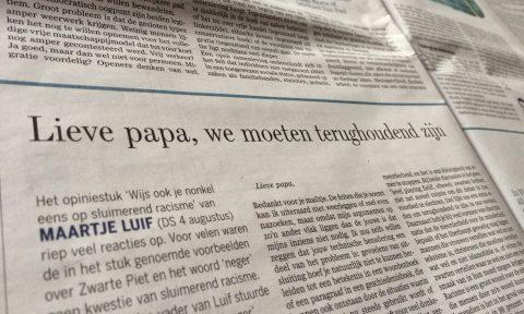 Lieve papa, we moeten terughoudend zijn